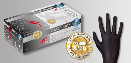 Unigloves Select Black Einweghandschuhe,300 EXTRA langer Schaft GRÖßE S 100 Stck.